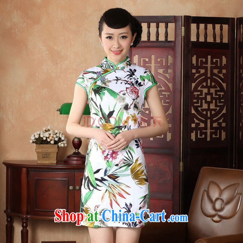 Nigeria, the new summer, Ms. elegance short Chinese qipao new Chinese improved cheongsam dress D XXL 0221