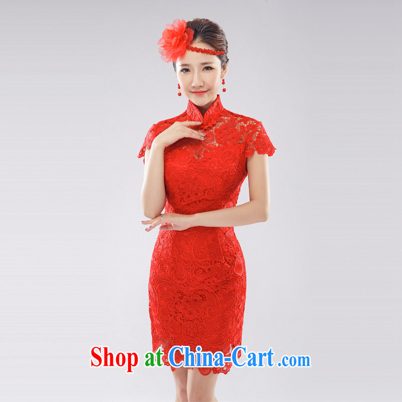 Beijing, Hong Kong, 2015 as soon as possible new, improved fashion cheongsam dress red water-soluble lace marriages served toast short, elegant beauty back exposed red L