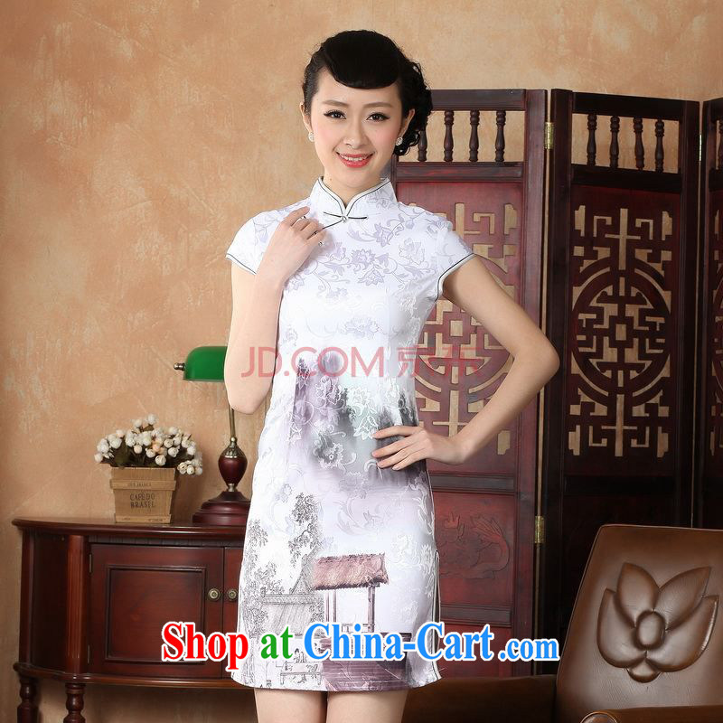 For Pont Sond¨¦ Ms. Diane Tang cheongsam dress summer improved national wind antique stamp cheongsam dress dress picture color XXL