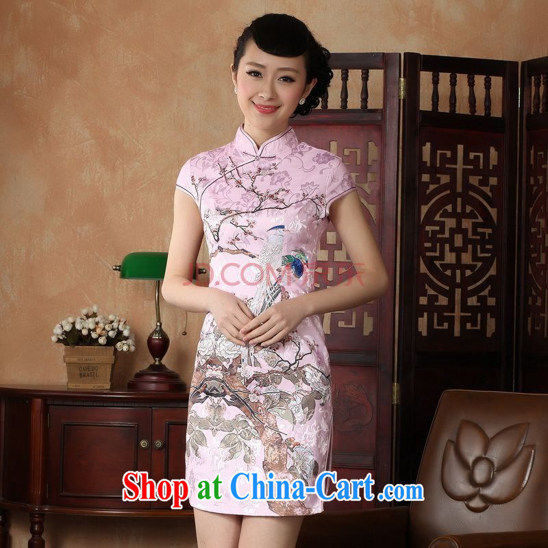 For Pont Sondé Ms. Diana Chinese cheongsam dress summer Chinese improved short cheongsam dress D XXL 0225