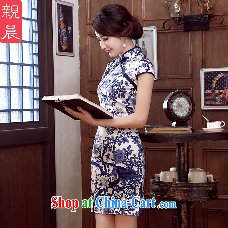 pro-am 2015 New Silk Cheongsam dress spring and summer short daily sauna Silk Cheongsam dress improved stylish blue L - 20 day shipping