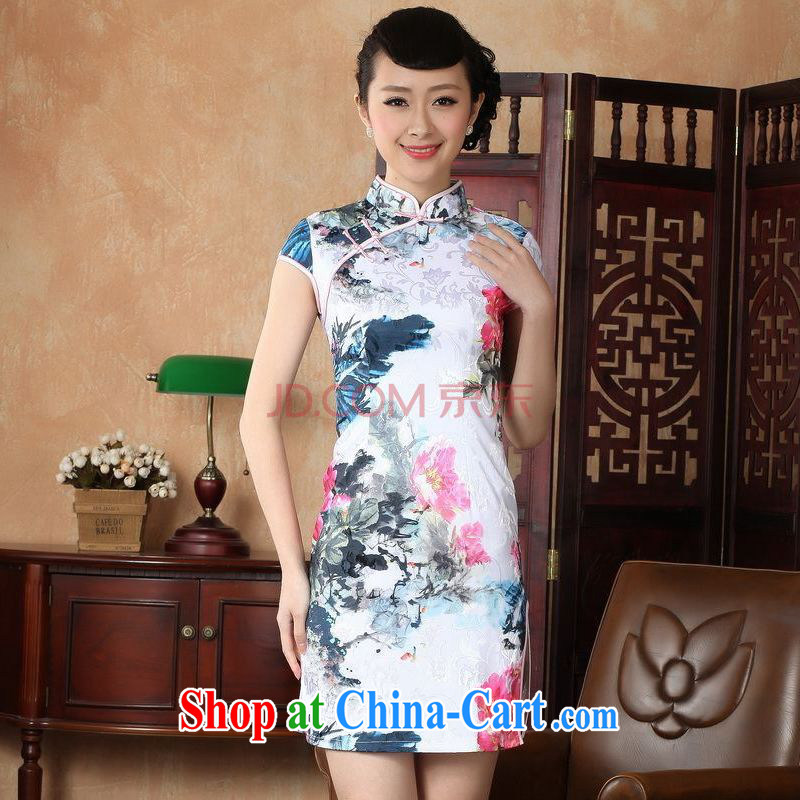 For Pont Sond� Ms. Diana dress Chinese cheongsam beauty enhancement stamp Chinese cheongsam dress picture color XXL