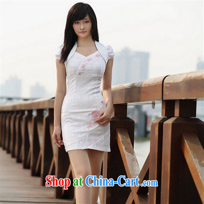 2015 popular cheongsam dress Out of Office Service female improved small fresh leave of two parts sweet cheongsam dress high-end customised white XL