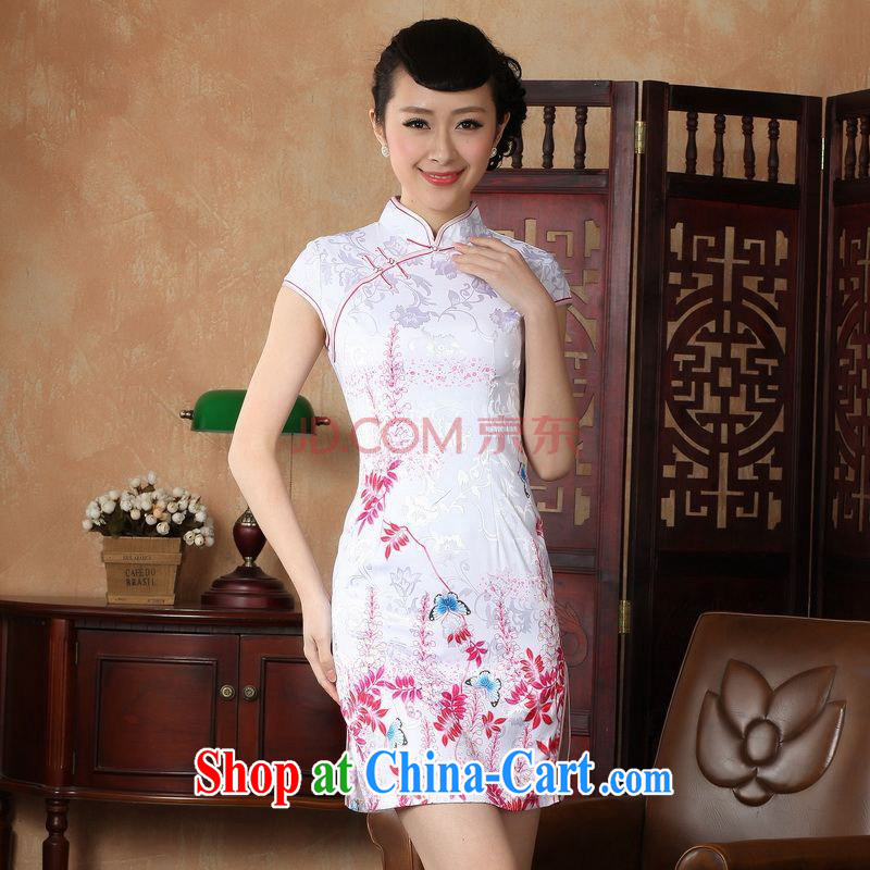 For Pont Sond� Ms. Diane new summer elegance Chinese qipao Chinese graphics thin short cheongsam D XXL 0222