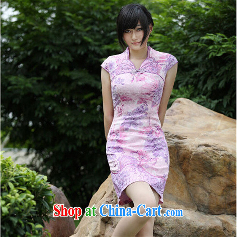 2015 new stylish girl with exquisite craftsmanship butterfly embroidery boutique improved stylish dresses skirt high-end customised purple XL