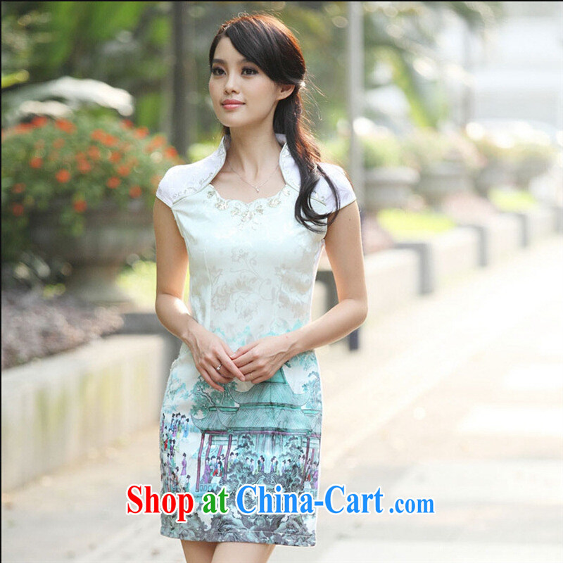 2015 popular out-of-office serving women with exquisite craftsmanship Ethnic Wind improved daily cheongsam dress high-end-Indigo color XL