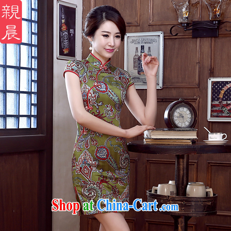 pro-am 2015 New Silk Cheongsam spring and summer with short daily dos santos Ms. Silk Cheongsam dress improved stylish green ground saffron Silk Cheongsam聽XL
