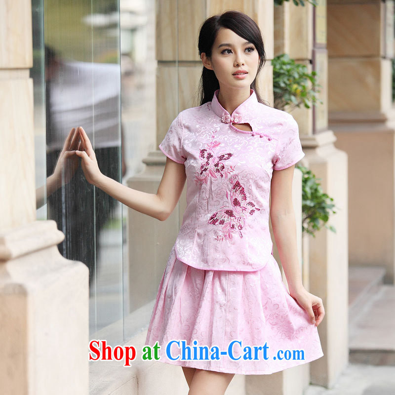 2014 summer new, genuine goods kit 2 piece fresh Chinese to Butterfly cheongsam dress set pink XL