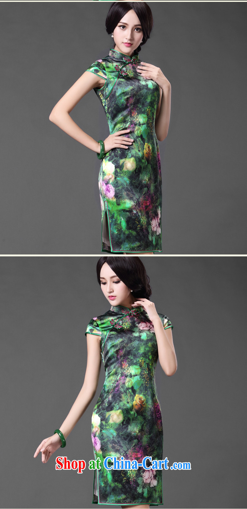 Silk Cheongsam dress summer improved Chinese sauna silk antique Chinese ZS 009 green XXL pictures, price, brand platters! Elections are good character, the national distribution, so why buy now enjoy more preferential! Health