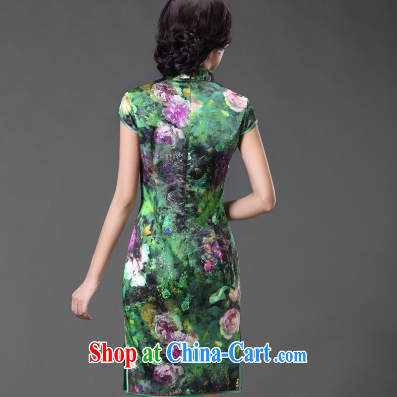 Silk Cheongsam dress summer improved Tang with Sauna silk antique Chinese ZS 009 green XXL, CHOSHAN LADIES, shopping on the Internet