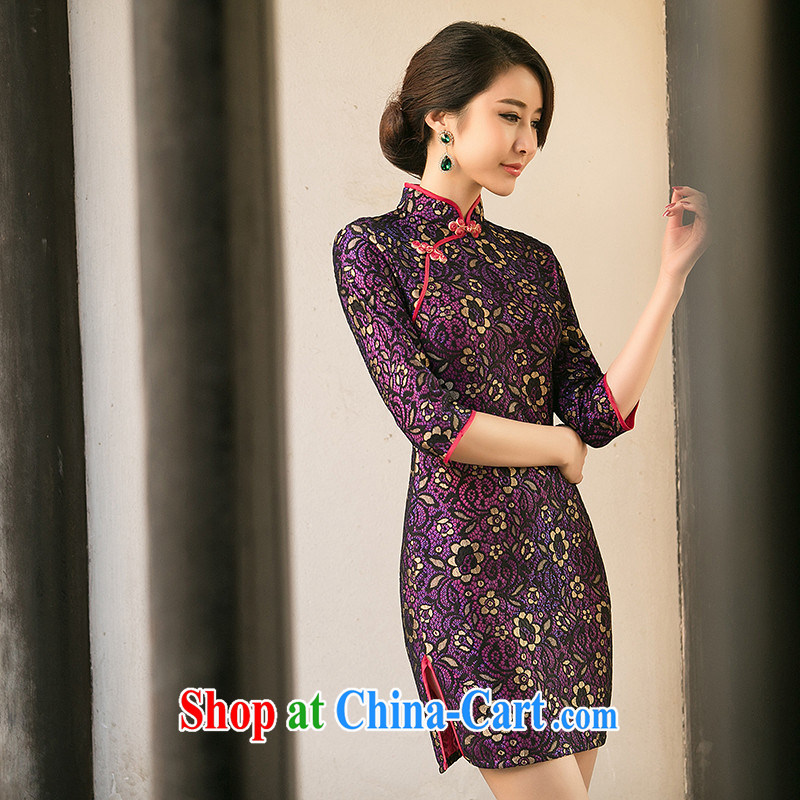 The Yee-Windsor elite summer new dresses summer dresses in Palace cuff wind lace cheongsam dress low-power's cheongsam ZA 103 purple 2 XL