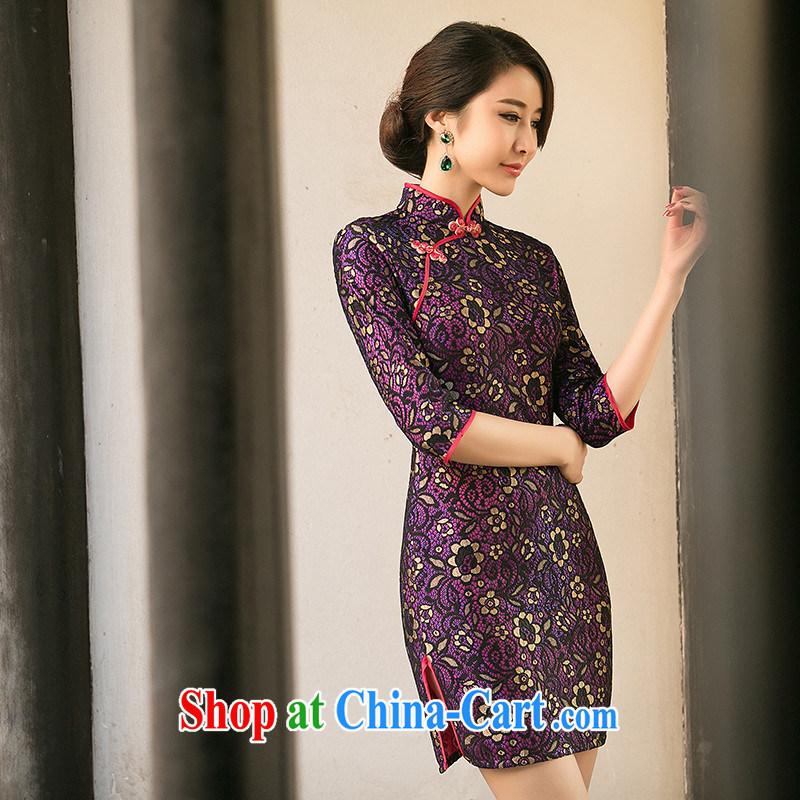The Yee-Windsor elite summer new dresses summer dresses in Palace cuff wind lace cheongsam dress low-power's cheongsam ZA 103 purple 2 XL