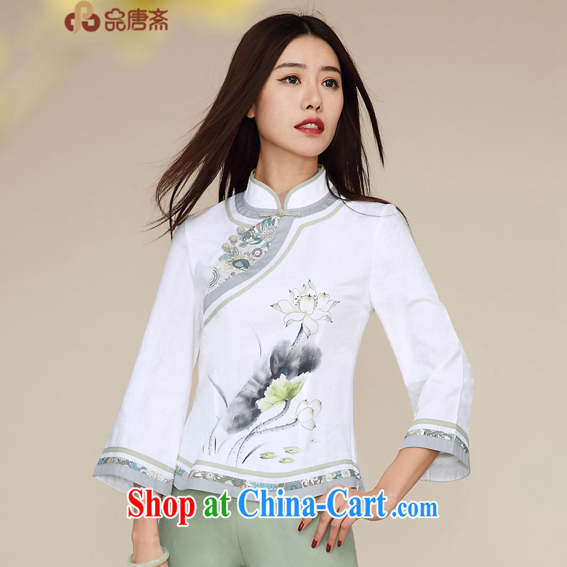 Mr Henry Tang, Id al-Fitr spring and summer new 2015 National wind beauty retro improved 7 sub-units the cuff cheongsam shirt white XL