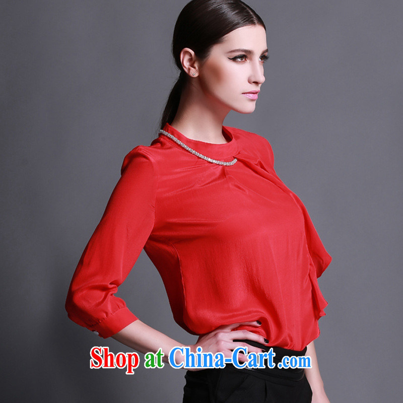 Black butterfly 2015 spring and summer new European site is silk flouncing relaxed round-collar pin drill solid color T pension female picture color XL