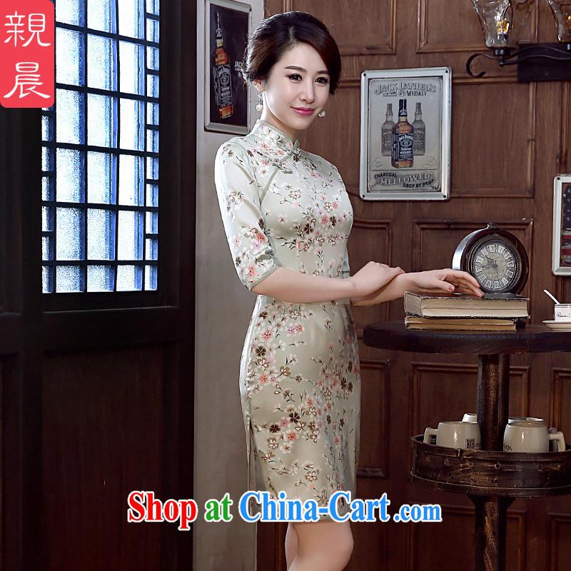 pro-am 2015 new daily cheongsam dress spring and summer short sauna silk Silk Cheongsam dress improved stylish short 2 XL