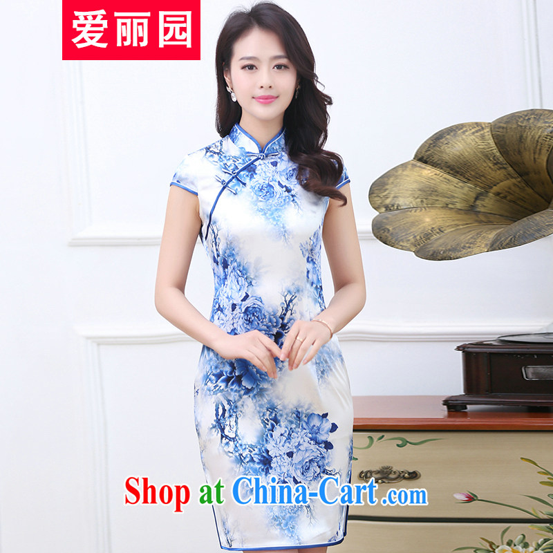 Alice Park 2015 summer new women who decorated in antique style improved short-sleeved blue and white porcelain style Silk Cheongsam dress female sauna silk blue and white porcelain XXL