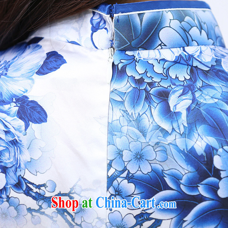 Alice Park 2015 summer new women who are decorated in classical style improved short-sleeve blue and white porcelain style Silk Cheongsam dress female sauna silk blue and white porcelain XXL, Alice Park (aliyuan), online shopping