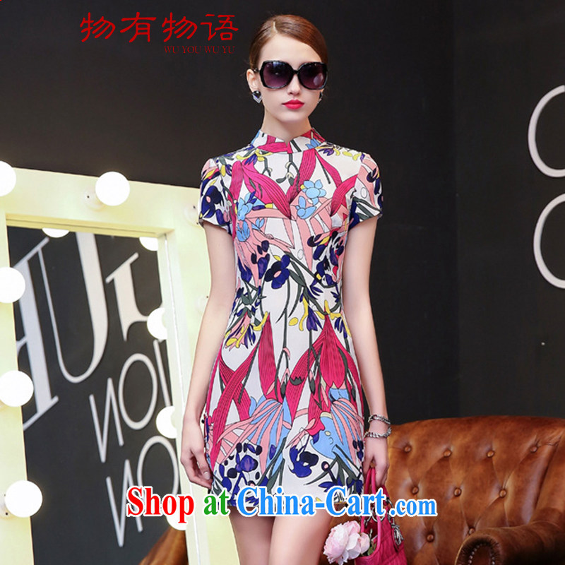 A Chinese silk dresses 2015 spring and summer women in Europe and America with improved cheongsam literary beauty, package and Tulip XL