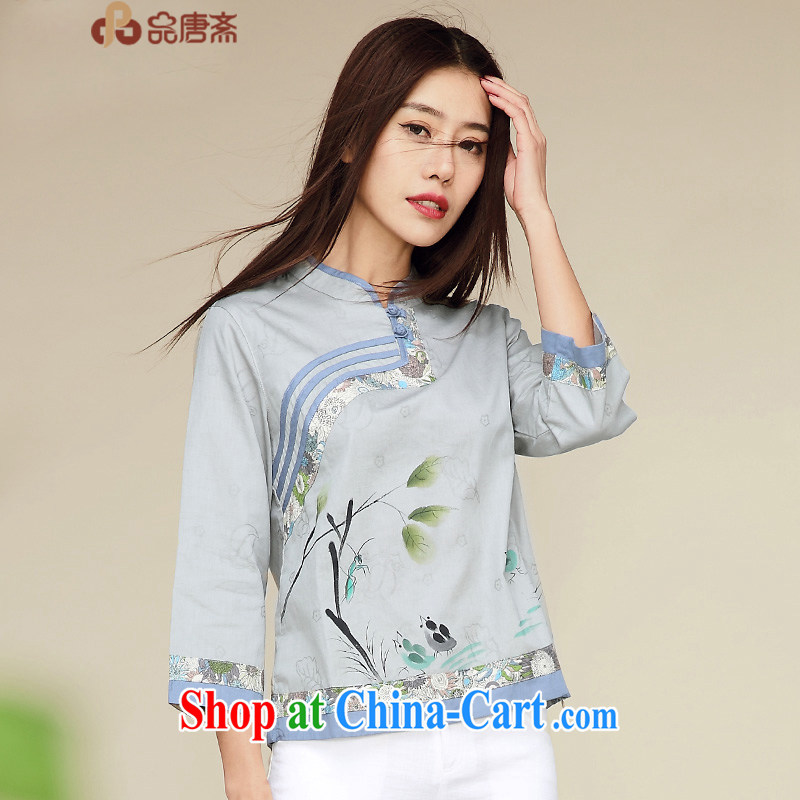 Mr Tang, Id al-Fitr 2015 new spring and summer load original design Chinese improved Han-cotton the National wind in sleeveless Tang with gray-blue XL