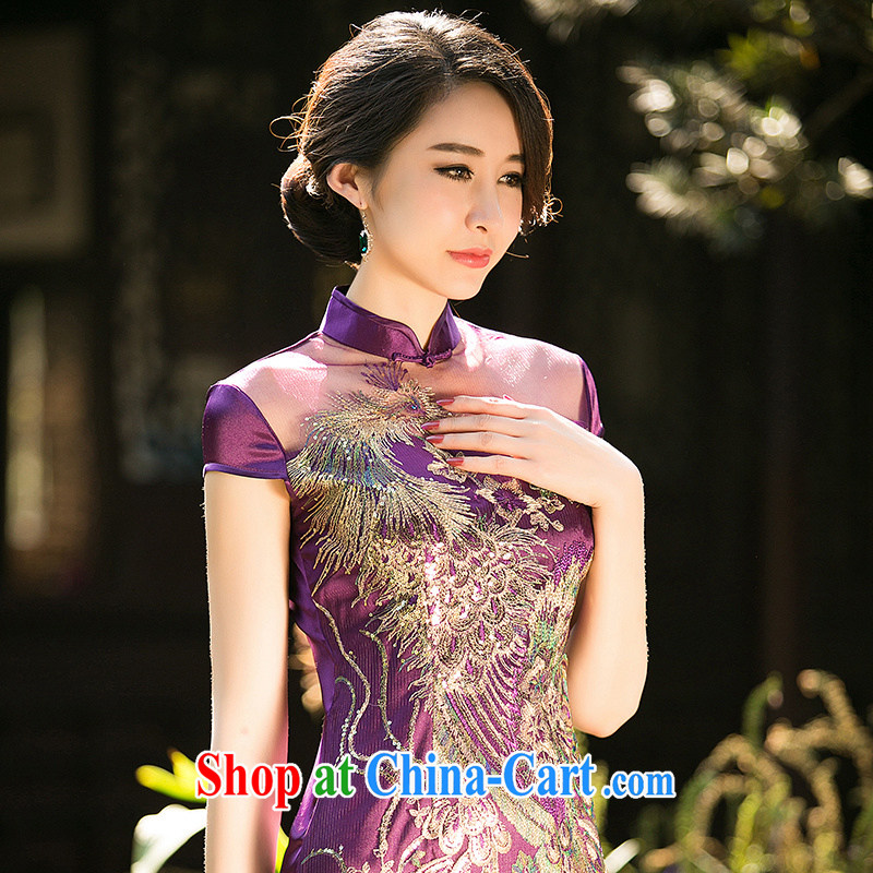 The cross-sectoral silence Elizabeth, New summer short-sleeve and collar bridal toast serving daily improved cheongsam dress embroidery lace cheongsam ZA 089 purple L