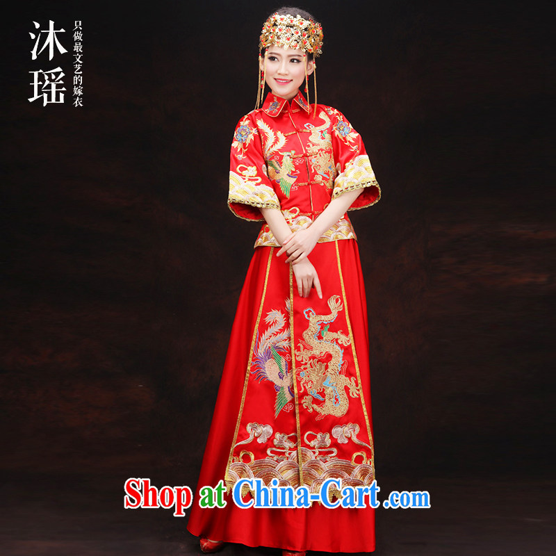 Mu Yao 2015 new show reel Kit 2-piece set, long-sleeved clothes toasting bride spring and summer use phoenix-soo and Chinese classical red 2-piece set is the pregnant women 7 cuff use phoenix for summer wear XL brassieres 106 CM