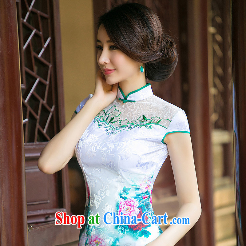 The cheer her light, new lace cheongsam dress short-sleeved retro stamp cheongsam dress, summer dresses ZA 001 green side suit 2 XL