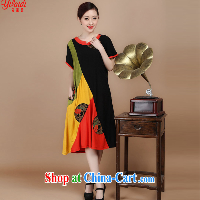 According to Tony BLAIR's summer 2015 new cotton computer embroidery with spell-colored loose classic Tang women dress black XXL