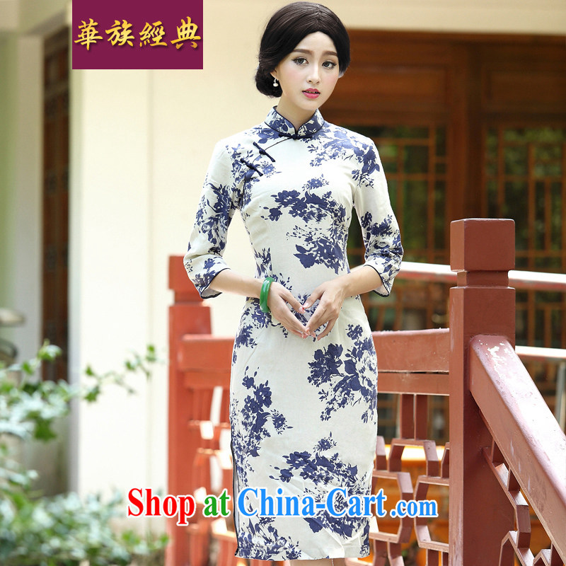 China classic New improved daily, Ms. Tang mounted units in the long-sleeved spring cheongsam dress retro style white blue XXL