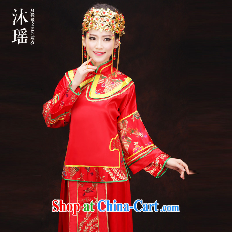 Mu Yao 2015 new show reel Kit 2 piece set long-sleeved clothes toasting bride before summer Grand Prix lightweight and comfortable pregnant women the Code Red Dragon Chinese use simple-soo and suitable for summer XL chest of more than 102 for