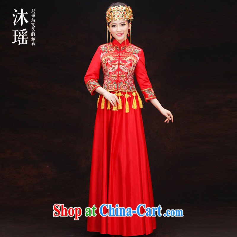 Mu Yao 2015 new show reel Kit 2 piece set long-sleeved clothes toasting bride hi service Phoenix summer dresses and go out the door Chinese wedding costumes red red XL chest of more than 102 for
