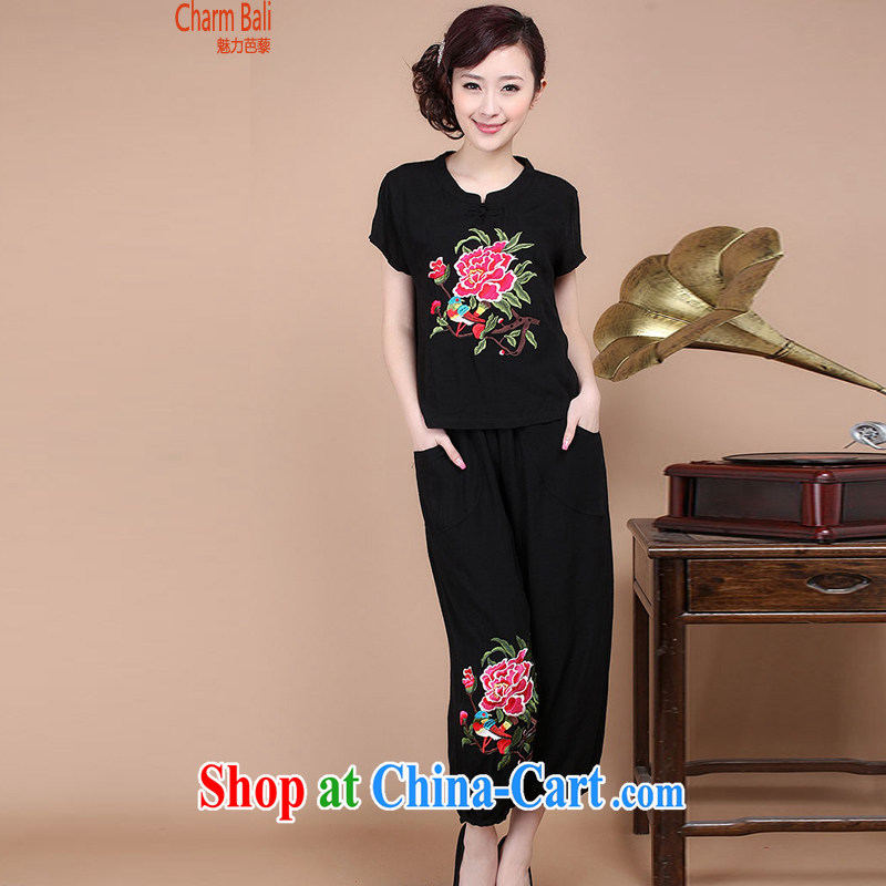 Hip Hop charm and Asia 2015 summer decor, cotton embroidery Tang replace V collar short-sleeve T-shirt pants two piece set to sell black XL
