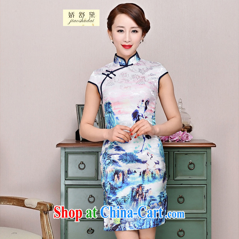 Air Shu Diane 2015 new suit Daily High jacquard cotton robes spring and summer retro fashion beauty dresses dresses women 1580 black collar, crane figure XXL