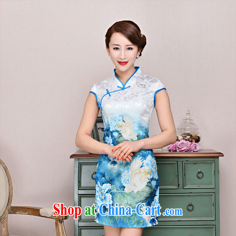 Summer 2015 new cheongsam dress stylish improved retro Silk Cheongsam daily short beauty dress girls summer 1588 blue collar, small bird figure suit XXL
