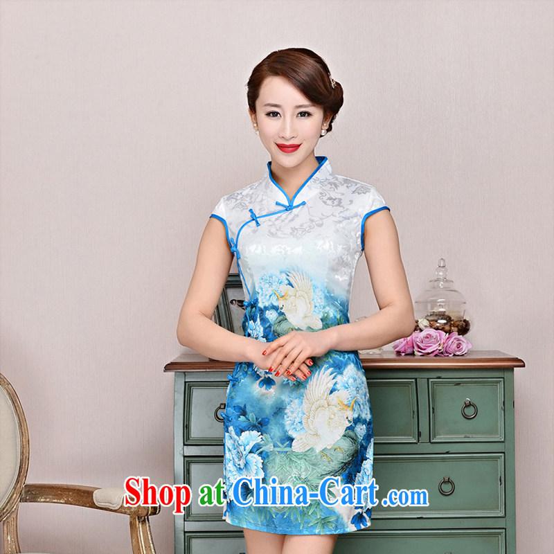 Summer 2015 new cheongsam dress stylish improved retro Silk Cheongsam daily short beauty dress girls summer 1588 blue collar, small bird figure suit XXL