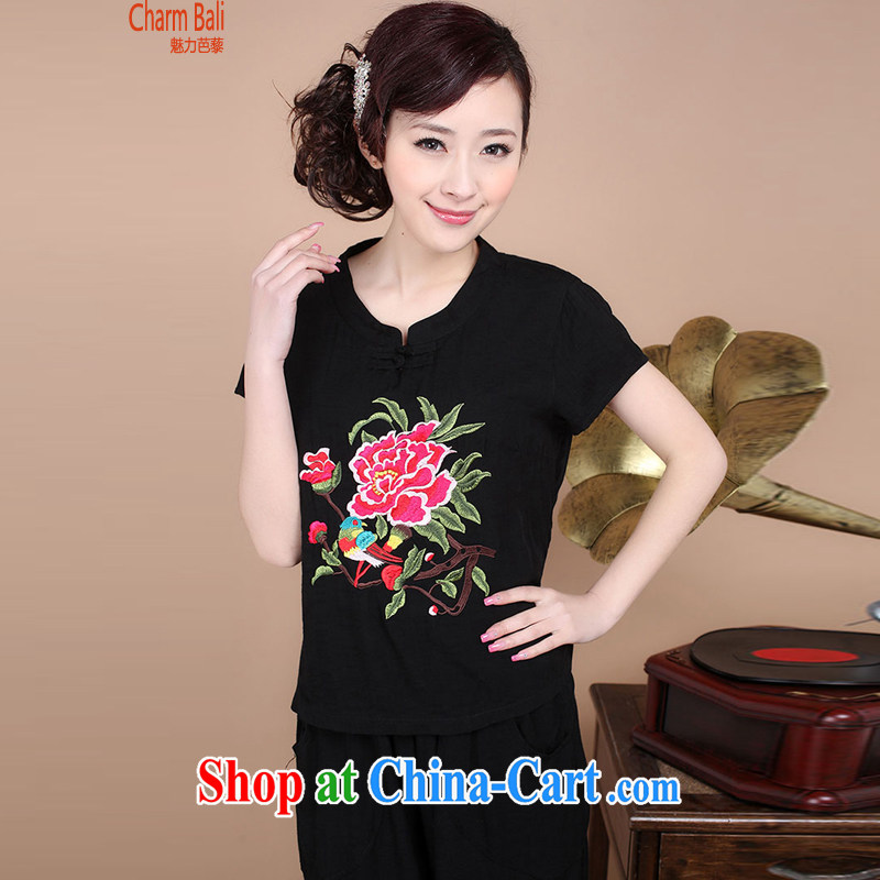 2015 summer decor, cotton embroidery Tang replace V collar short-sleeve T-shirt pants two piece set to sell black M