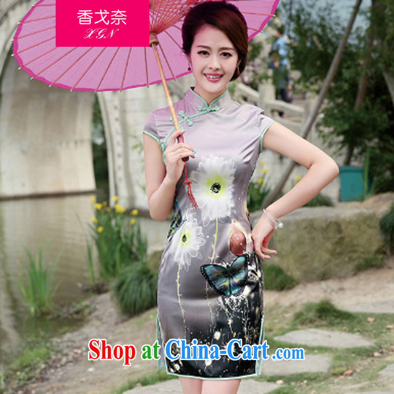 The Scent of Summer 2015 new Stylish retro elegant beauty, short day on the truck cheongsam dress summer gray butterfly XXL