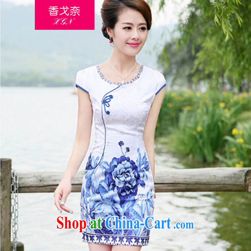 The Scent of Summer 2015 new chinese daily cheongsam stylish improved Chinese China retro blue and white porcelain cheongsam dress, spend XL