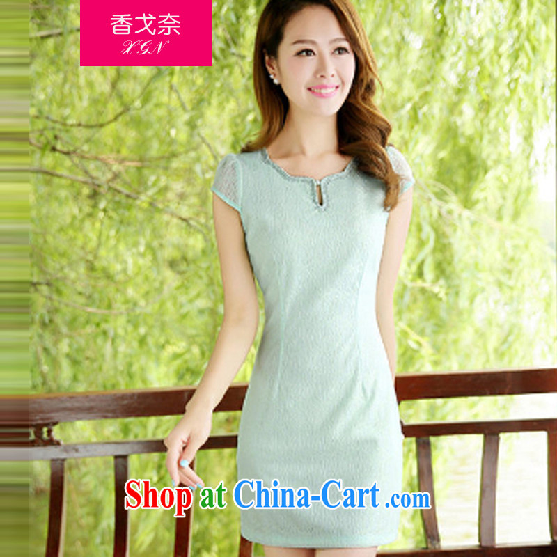 The Shannon Gore, 2015 new summer dress stylish and simple dresses elegance of improved color short, short-sleeved cheongsam dress green summer XL