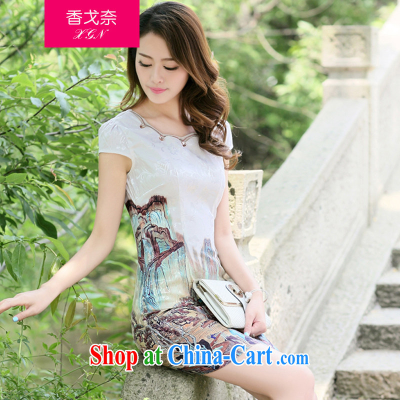 The Shannon Gore, 2015 female new Ethnic Wind Chinese half sleeve Chinese stamp ink retro beauty style graphics thin package and cheongsam dress card its XL