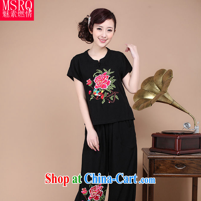 Quality of fuel and 2015 summer new cotton Tang replacing computer embroidery peony flower round-collar retro short large code Tang women T-shirt black XXXL