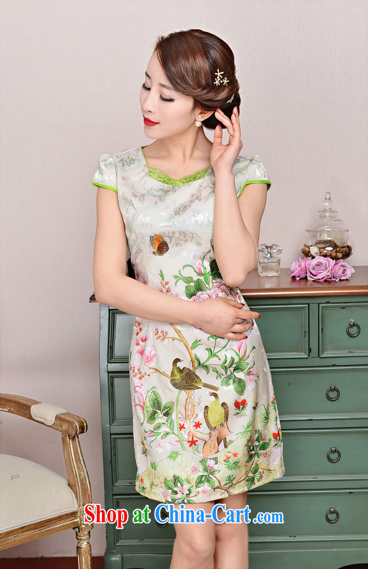 2015 new, elegant and the flap to take ice silk cotton short cheongsam ethnic wind Tang on the collar and skirt 1585 yellow peony flower XL pictures, price, brand platters! Elections are good character, the national distribution, so why buy now enjoy more preferential! Health