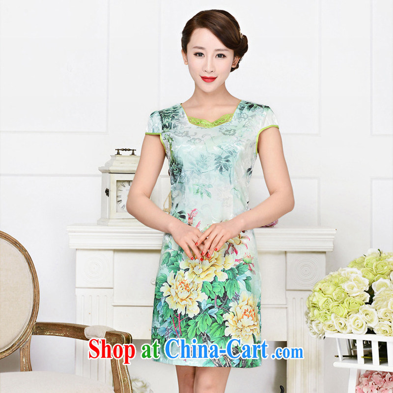 2015 new elegant the flap to take ice silk cotton short cheongsam ethnic wind Tang is a collar dresses 1585 yellow peony flower XL