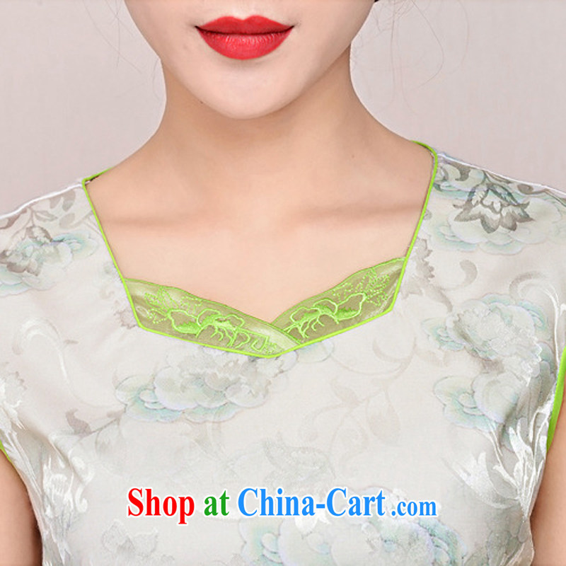 2015 new elegant the flap to take ice silk cotton short cheongsam ethnic wind Tang on the collar dresses 1585 yellow peony flower XL, Ballet of Asia and cruise (BALIZHIYI), and, on-line shopping