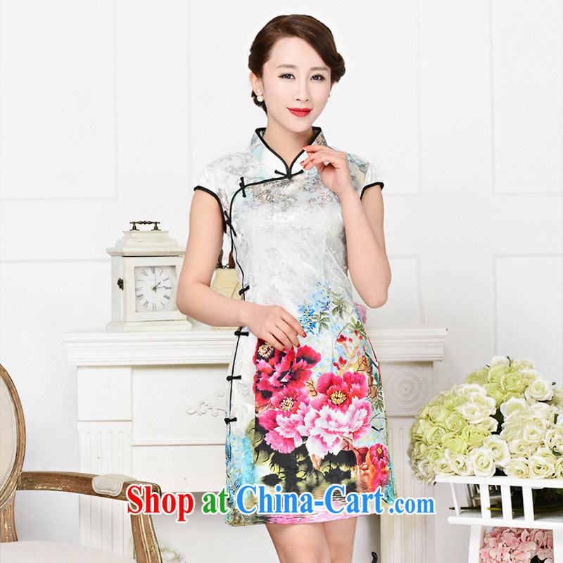 Summer 2015 new cheongsam dress stylish improved retro Silk Cheongsam daily short beauty dress girls summer 1588 black collar, crane figure M