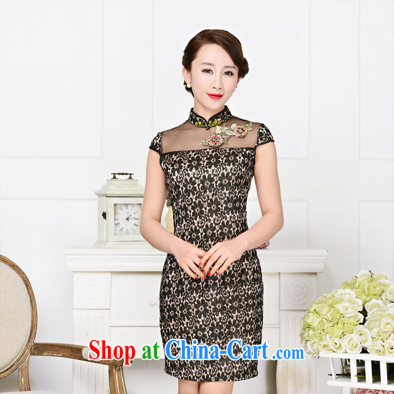 Summer 2015 new women who decorated graphics thin lace dress boutique short-sleeved-tie everyday improved short flag 1590 black lace two flower Peony flower XXL