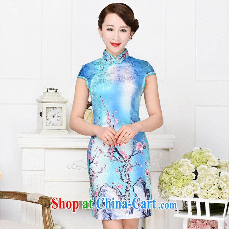 2015 summer New Women Fashion dresses jacquard silk cotton dresses short dresses style low-power requirements 1587 outfit, the red plum figure L