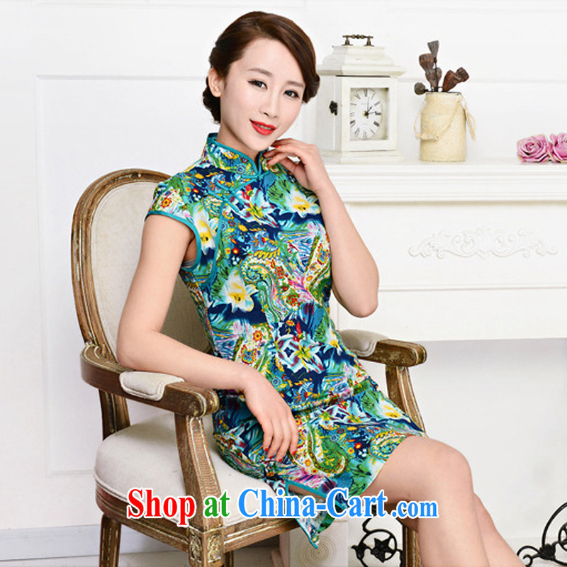2015 spring and summer new retro long cotton the cheongsam dress stylish upgraded cuff daily outfit summer 1586 green package for green floral XL