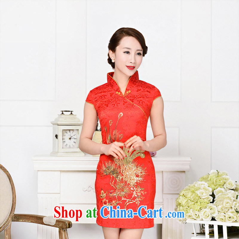 Dresses 2015 New Spring Summer white jacquard cotton retro daily improved cheongsam dress style women 1582 red phoenix spend L