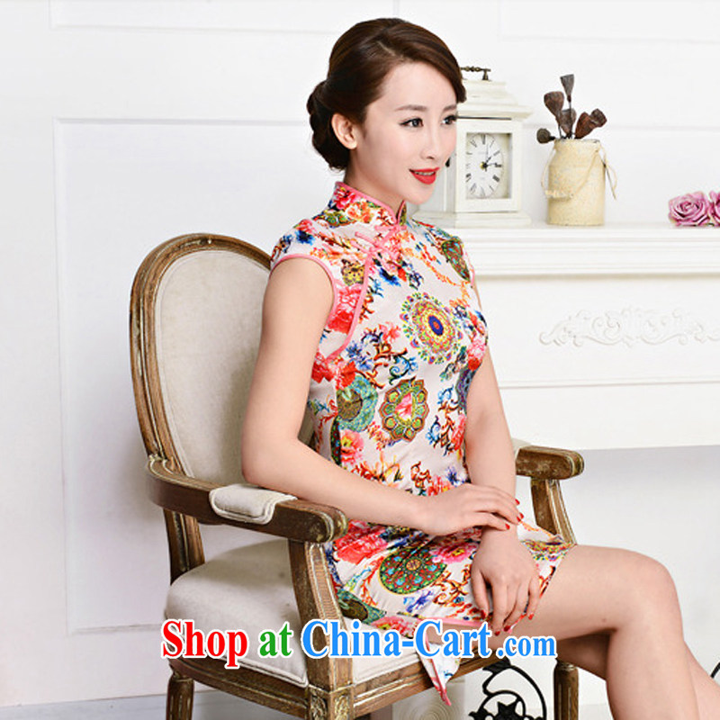 Summer 2015 new, improved daily retro dresses beauty graphics thin, fashionable emulation Silk Cheongsam dress 1581 pink package collar, Peony flowers M