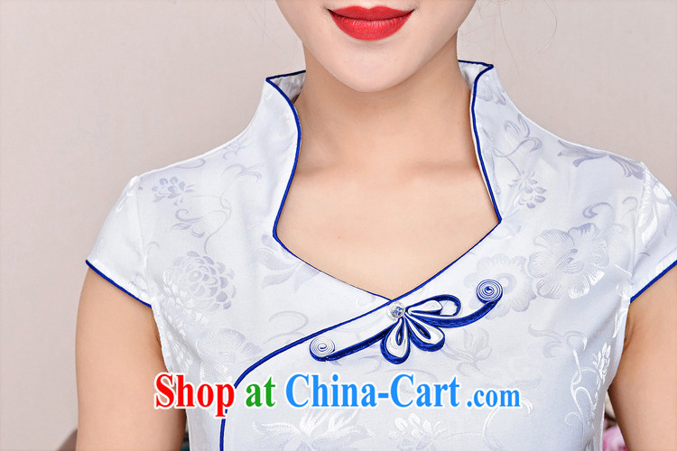 cheongsam dress 2015 New Spring, Summer girl short, cultivating jacquard ice silk cotton Stylish retro flower sleeveless dresses 1583 white porcelain was XXL pictures, price, brand platters! Elections are good character, the national distribution, so why buy now enjoy more preferential! Health